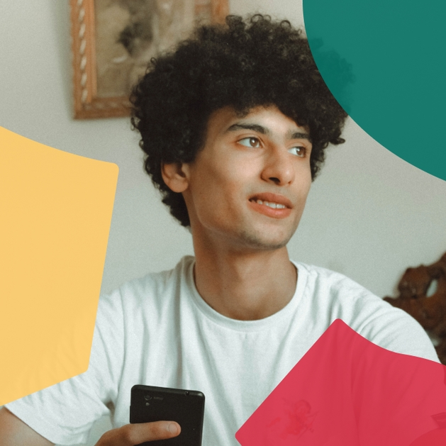 Image of a young person using a phone, overlaid with coloured shapes